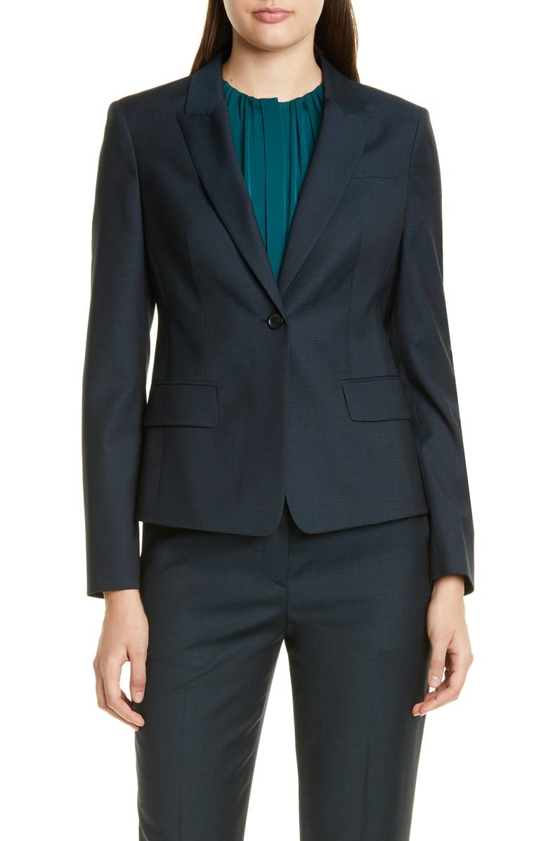 BOSS Jibalena Microcheck Wool Suit Jacket, Main, color, DARK EMERALD MINI PATTERN