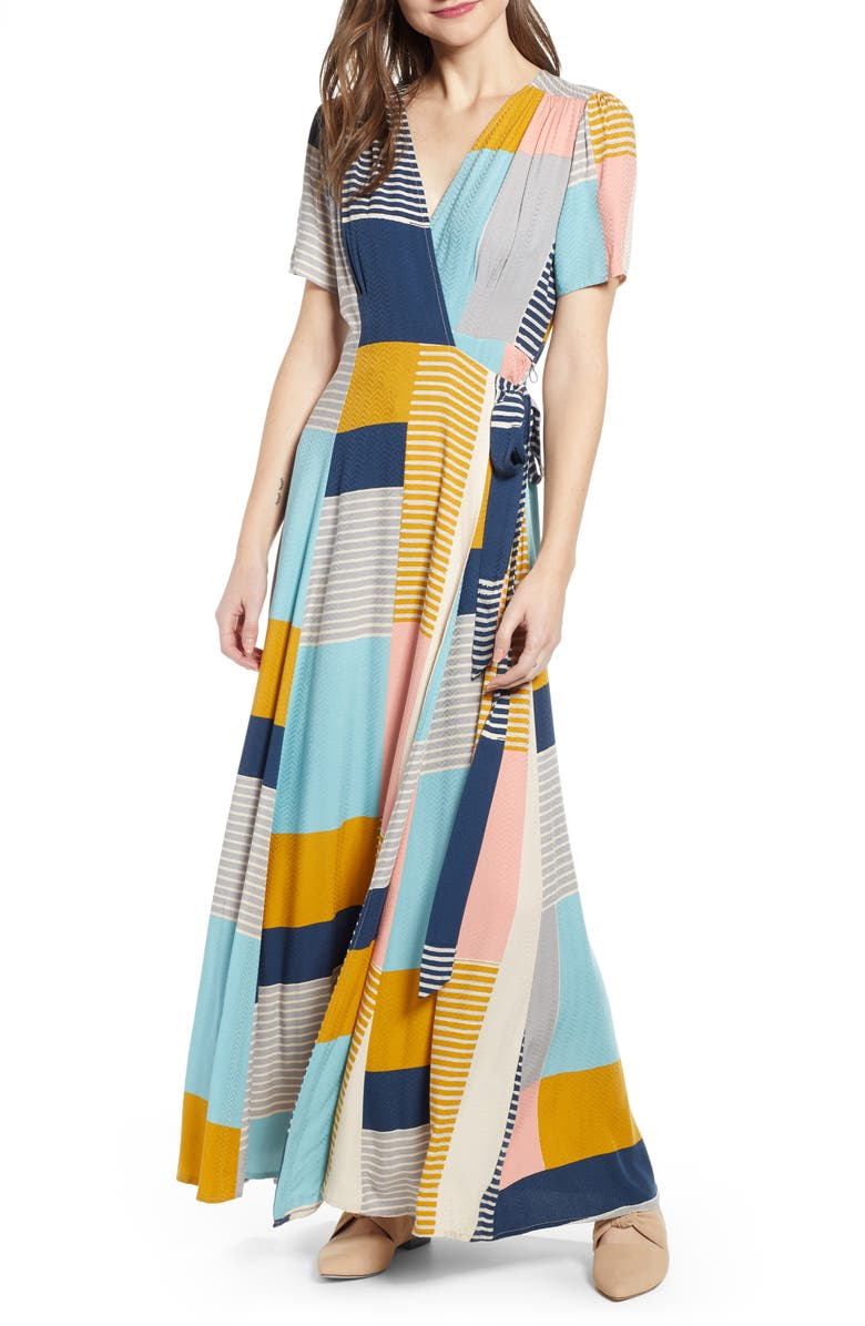 1fb5917a740ec THE ODELLS Colorblock Pattern Mix Faux Wrap Maxi Dress | Nordstrom