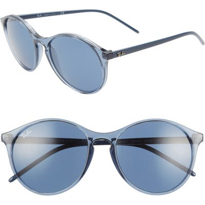 Ray-Ban Highstreet 55Mm Round Sunglasses - Transparent Blue/ Blue Solid