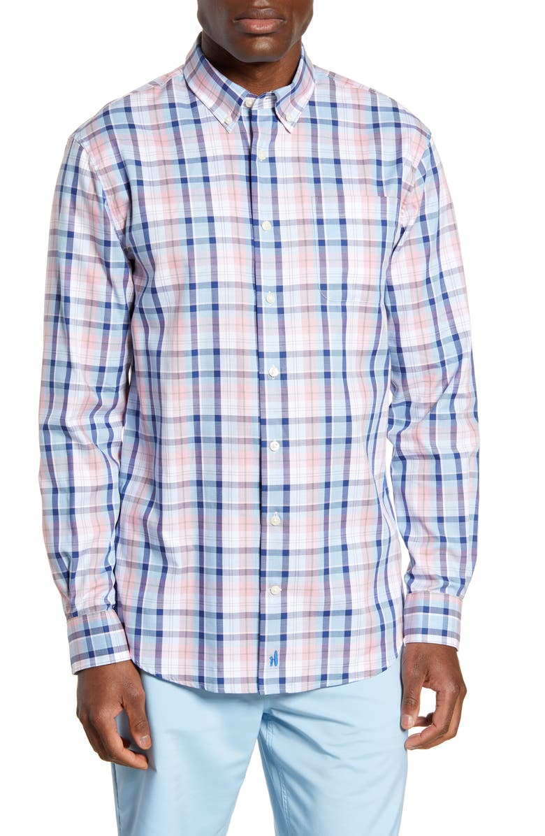 JOHNNIE-O Basie Classic Fit Plaid Button-Down Shirt, Main, color, GULF BLUE