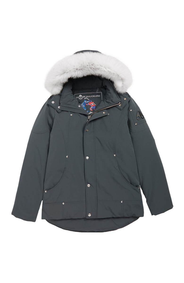 MOOSE KNUCKLES Hooded Parka with Genuine Fox Fur Trim, Main, color, BLACK W/ WHITE FUR