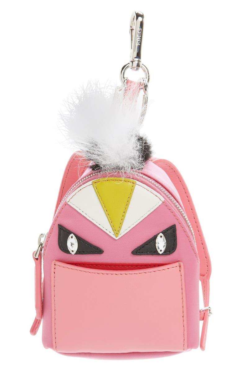 FENDI 'Monster' Genuine Fox & Nutria Fur Trim Backpack Bag Charm, Main, color, PINK