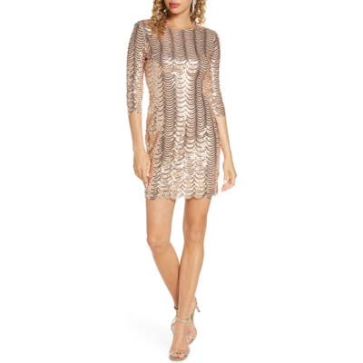 Lulus Stardust Sequin Body-Con Minidress, Metallic