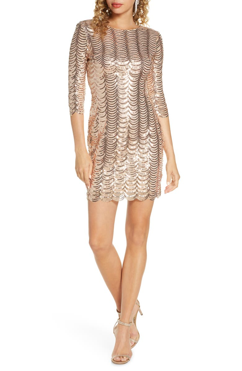 LULUS Stardust Sequin Body-Con Minidress, Main, color, GOLD
