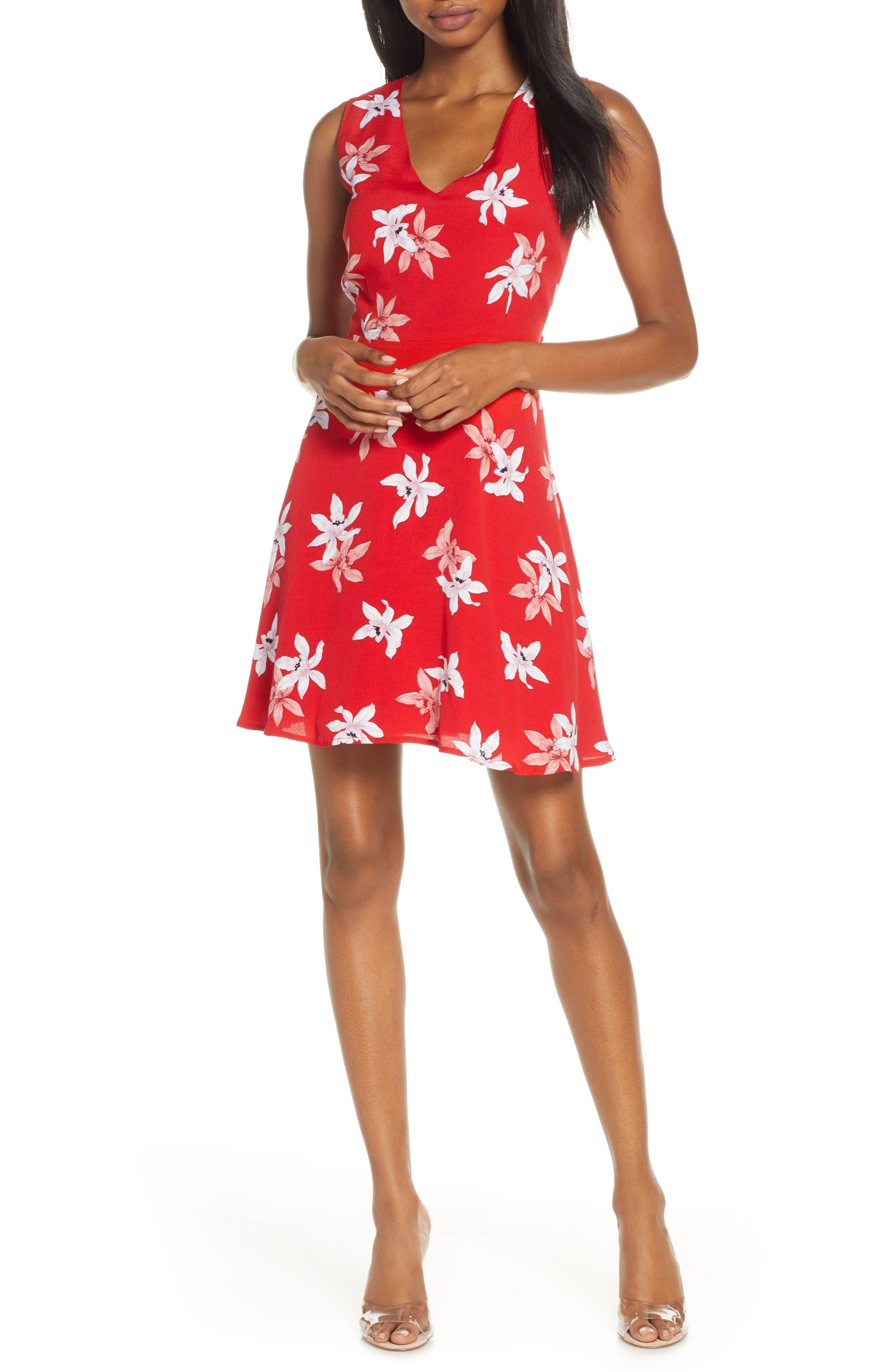 Bb Dakota Dear Daffodils Floral Minidress, Red