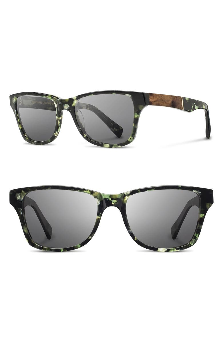 SHWOOD 'Canby' 54mm Acetate & Wood Sunglasses, Main, color, DARKFOREST/ ELM/ GREY