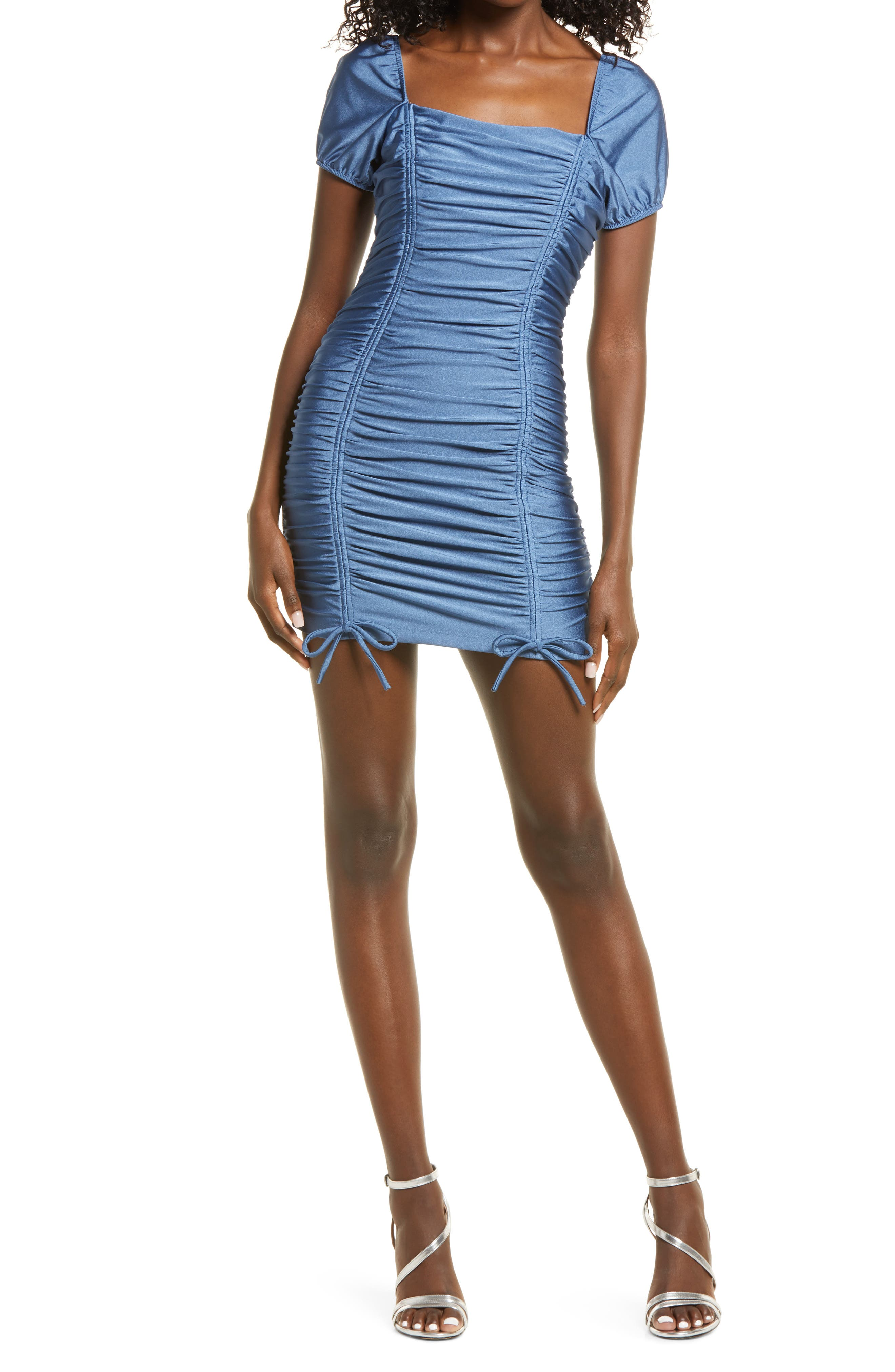 Ruched Puff Sleeve Body-Con Knit Minidress
