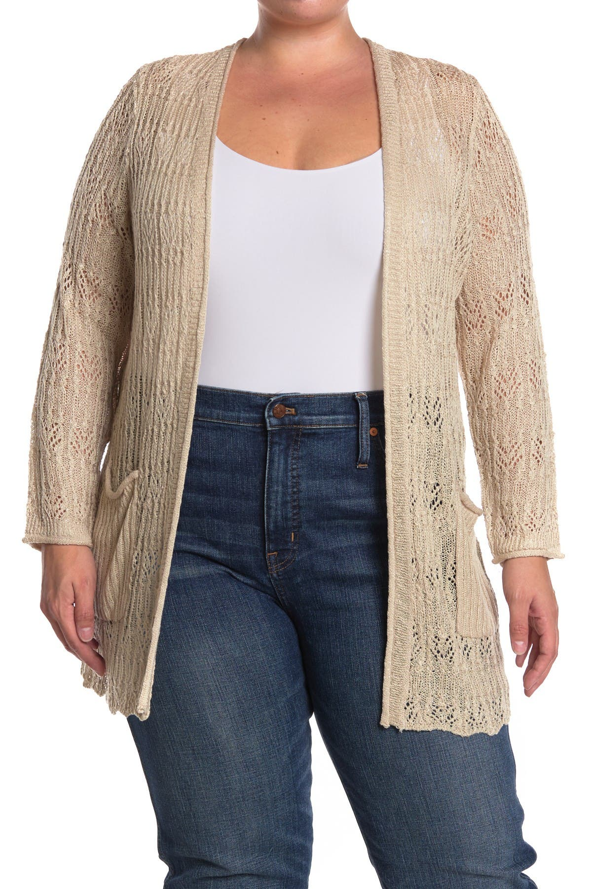 Image of Democracy Open Front Pointelle Cardigan