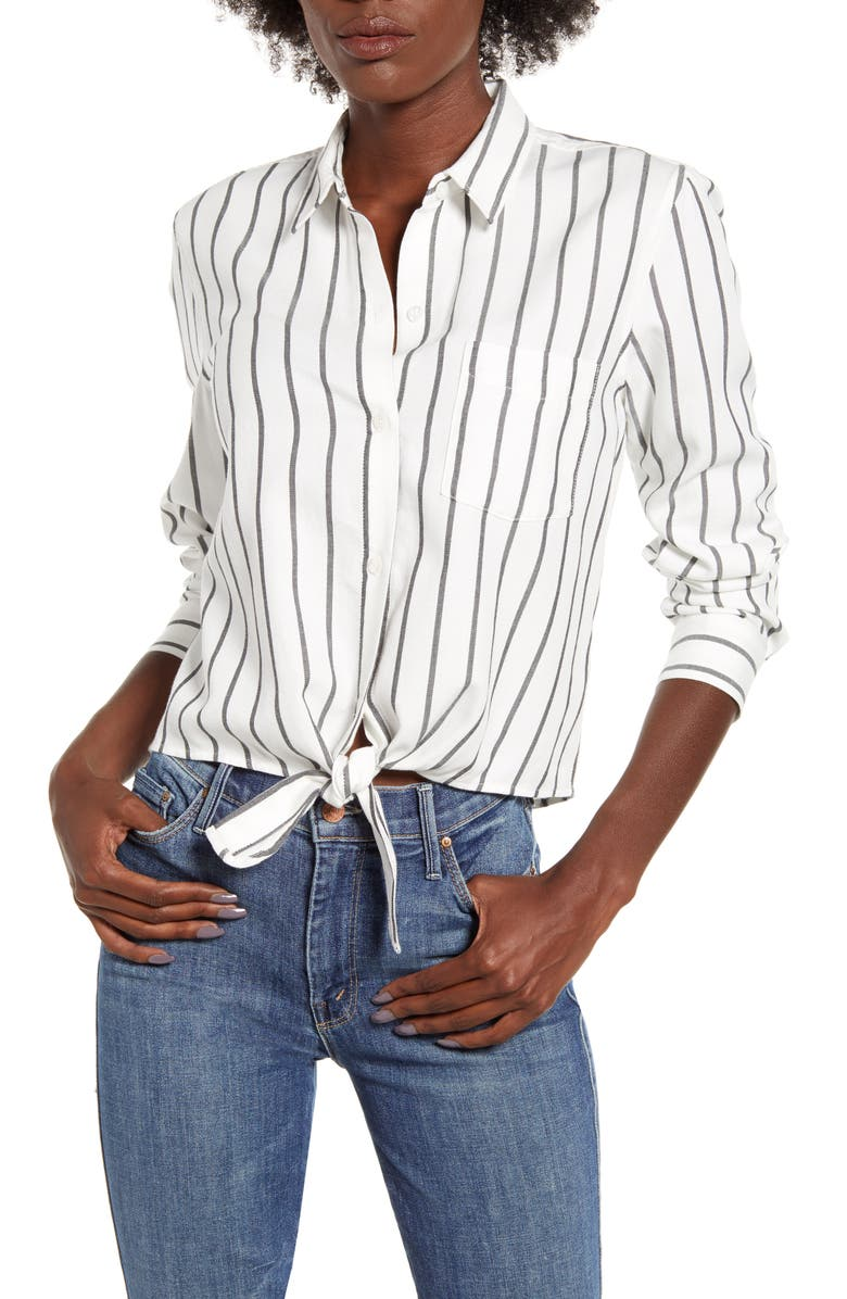 RAILS Val Tie Front Shirt, Main, color, STORM STRIPE