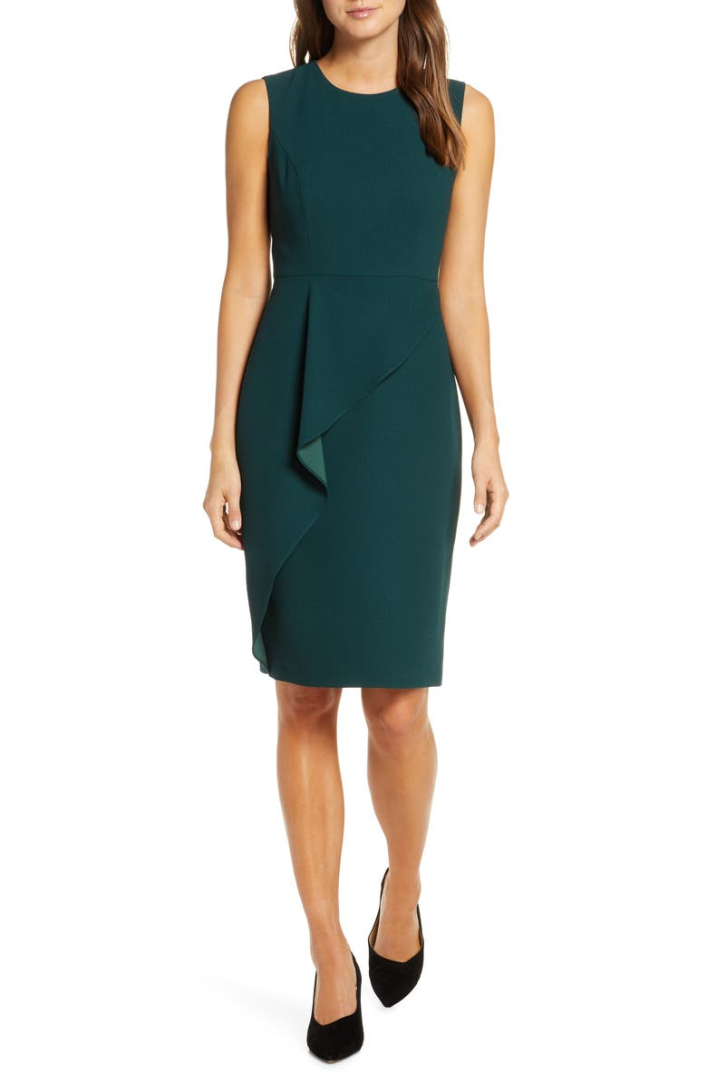 ELIZA J Asymmetrical Ruffle Sheath Dress, Main, color, HUNTER