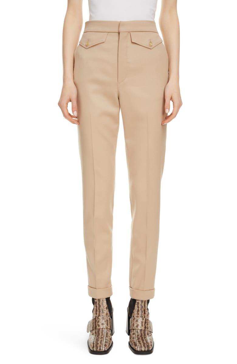 CHLOÉ Satin Pocket Stretch Wool Slim Pants, Main, color, SOFT TAN