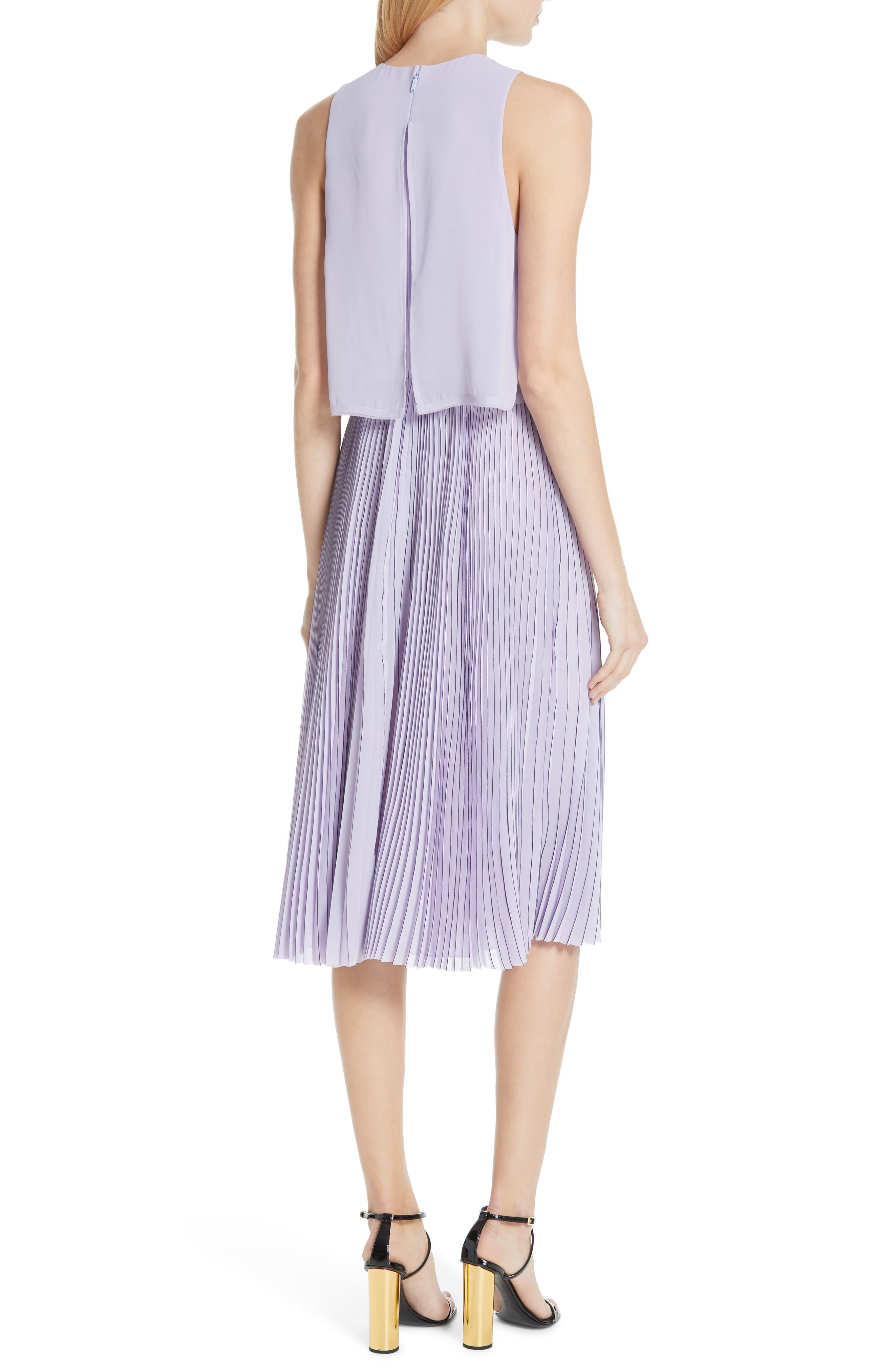 ,                             Pleated Popover Dress,                             Alternate thumbnail 2, color,                             PASTEL MAUVE/ DARK NAVY