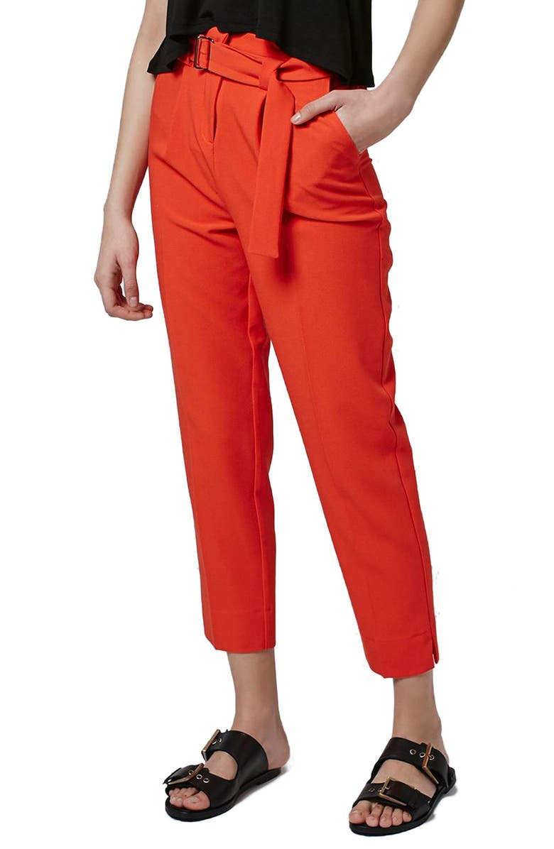 TOPSHOP Belted Peg Trousers, Main, color, 600