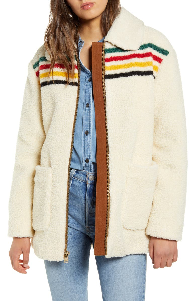 PENDLETON Glacier Sunset Water Resistant Fleece Coat, Main, color, GLACIER STRIPE