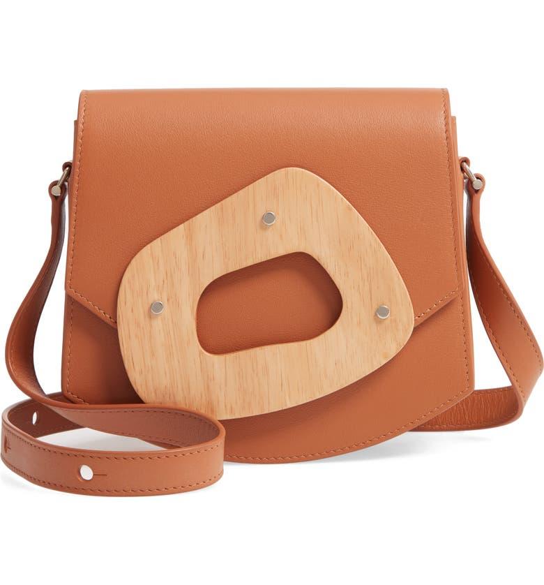 PERRIN Le Mini Amorphe Leather Crossbody Bag, Main, color, CARAMEL/ NATURAL WOOD