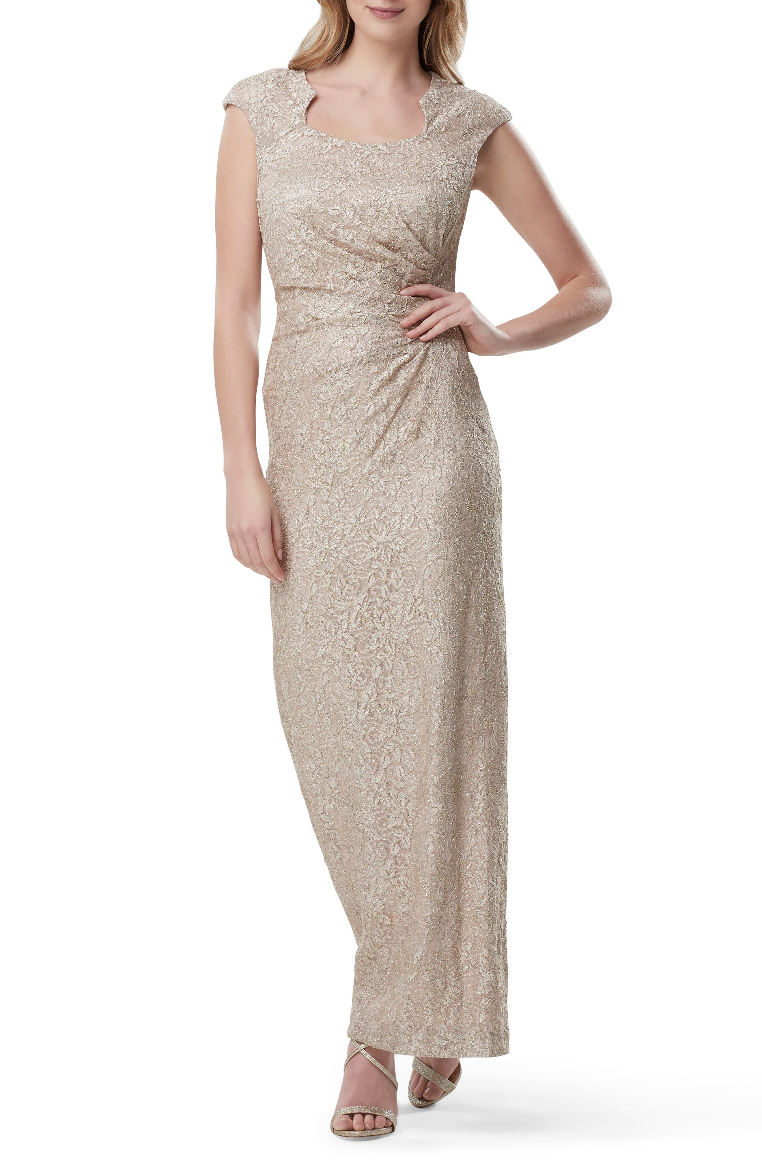 Tahari Side Ruched Stretch Lace Evening Gown, Metallic