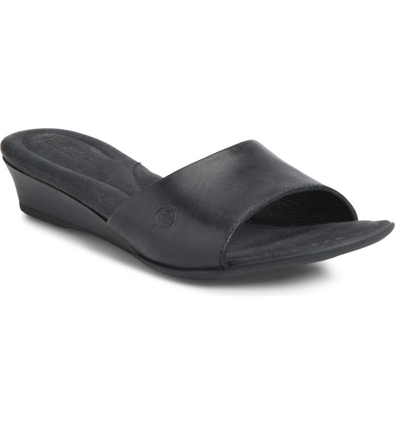BØRN Shasta Wedge Slide Sandal, Main, color, BLACK LEATHER