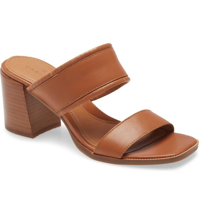 CASLON<SUP>®</SUP> Kalina Block Heel Slide Sandal, Main, color, COGNAC LEATHER