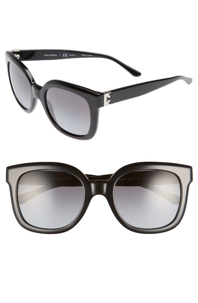TORY BURCH Modern-T 54mm Gradient Cat Eye Sunglasses, Main, color, 001