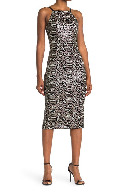 Image of RACHEL Rachel Roy Karla Leopard Sequin Midi Dress