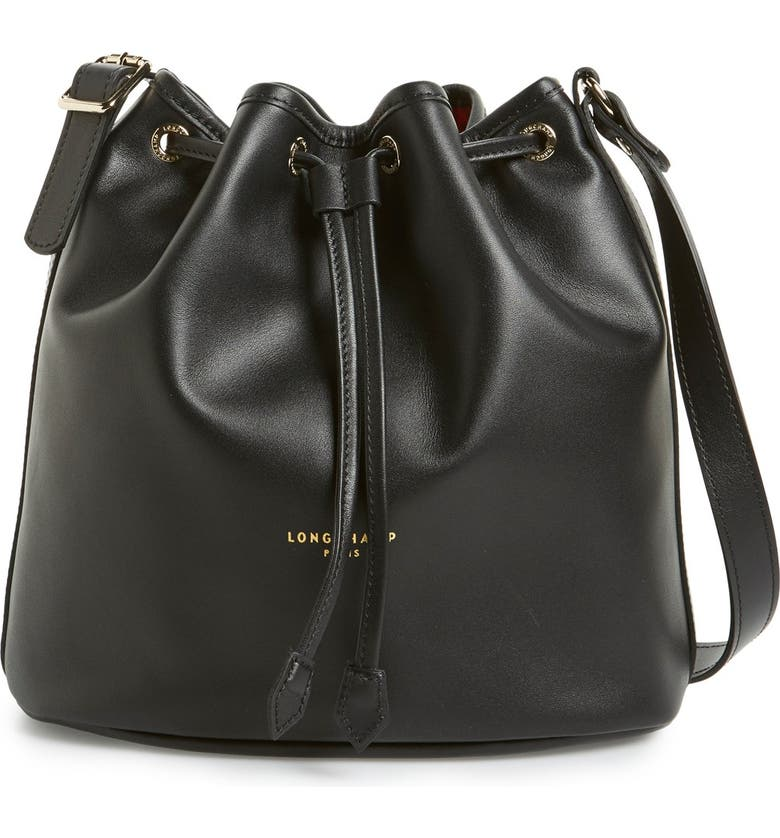 LONGCHAMP 'Small 2.0' Leather Bucket Bag, Main, color, 001