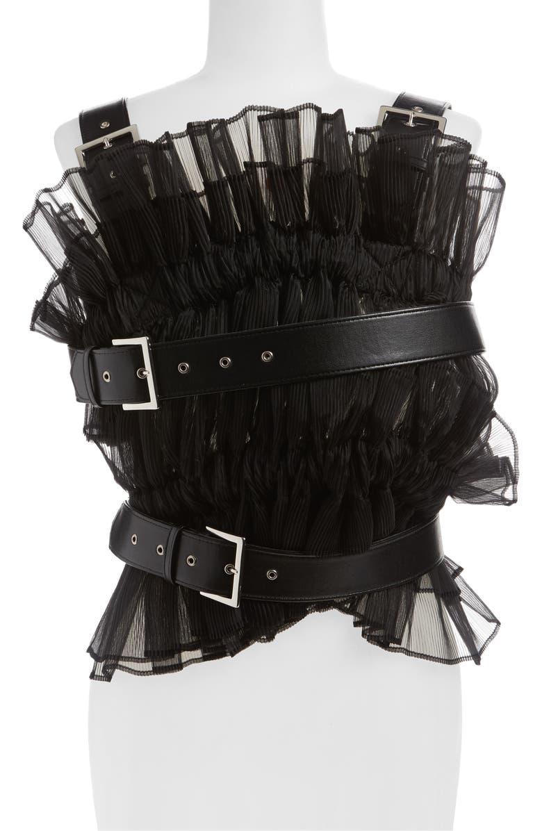 NOIR KEI NINOMIYA Pleated Organza Faux Leather Harness, Main, color, 001