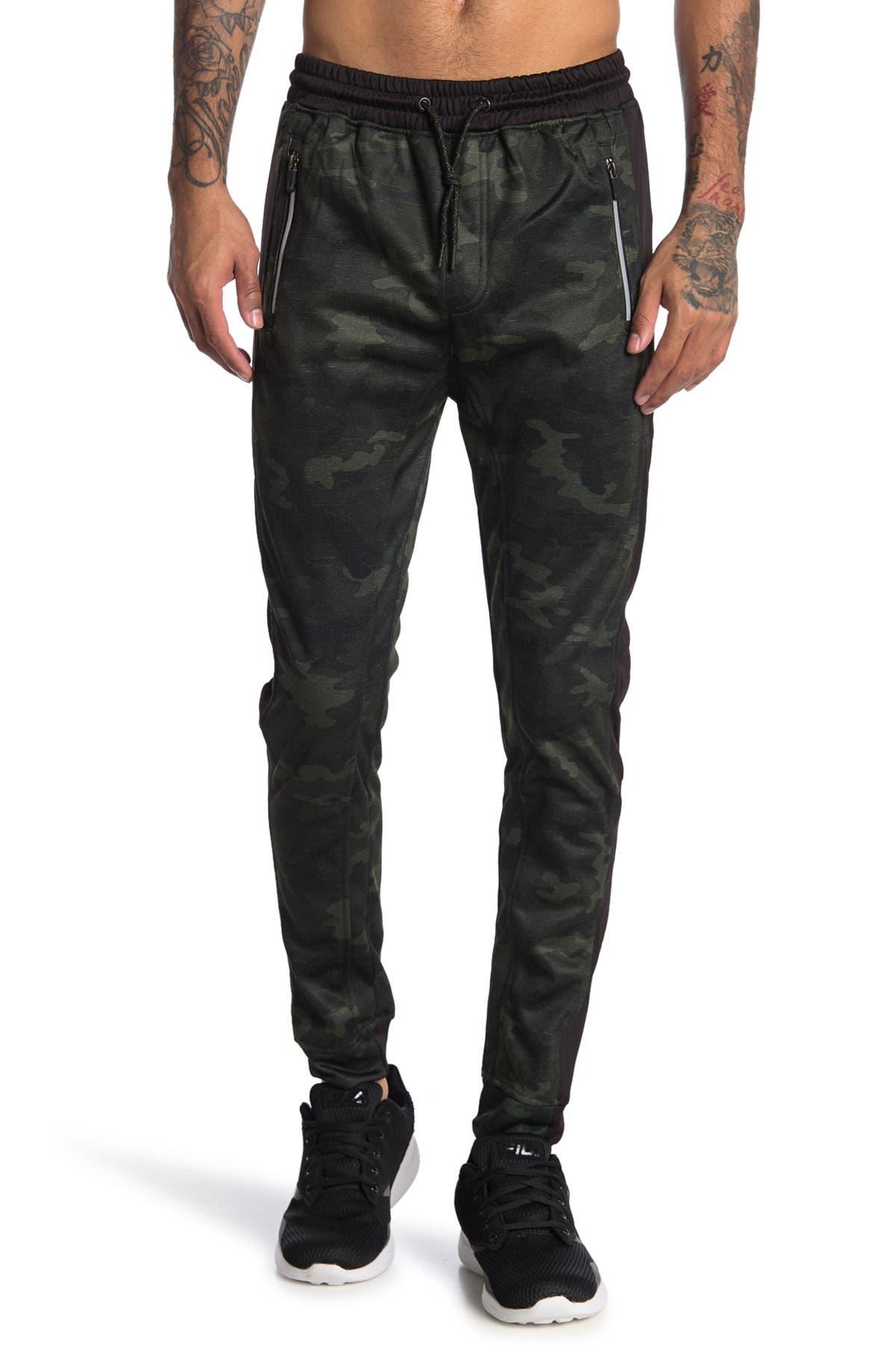 Image of Burnside Camo Print Zip Pocket Fleece Joggers