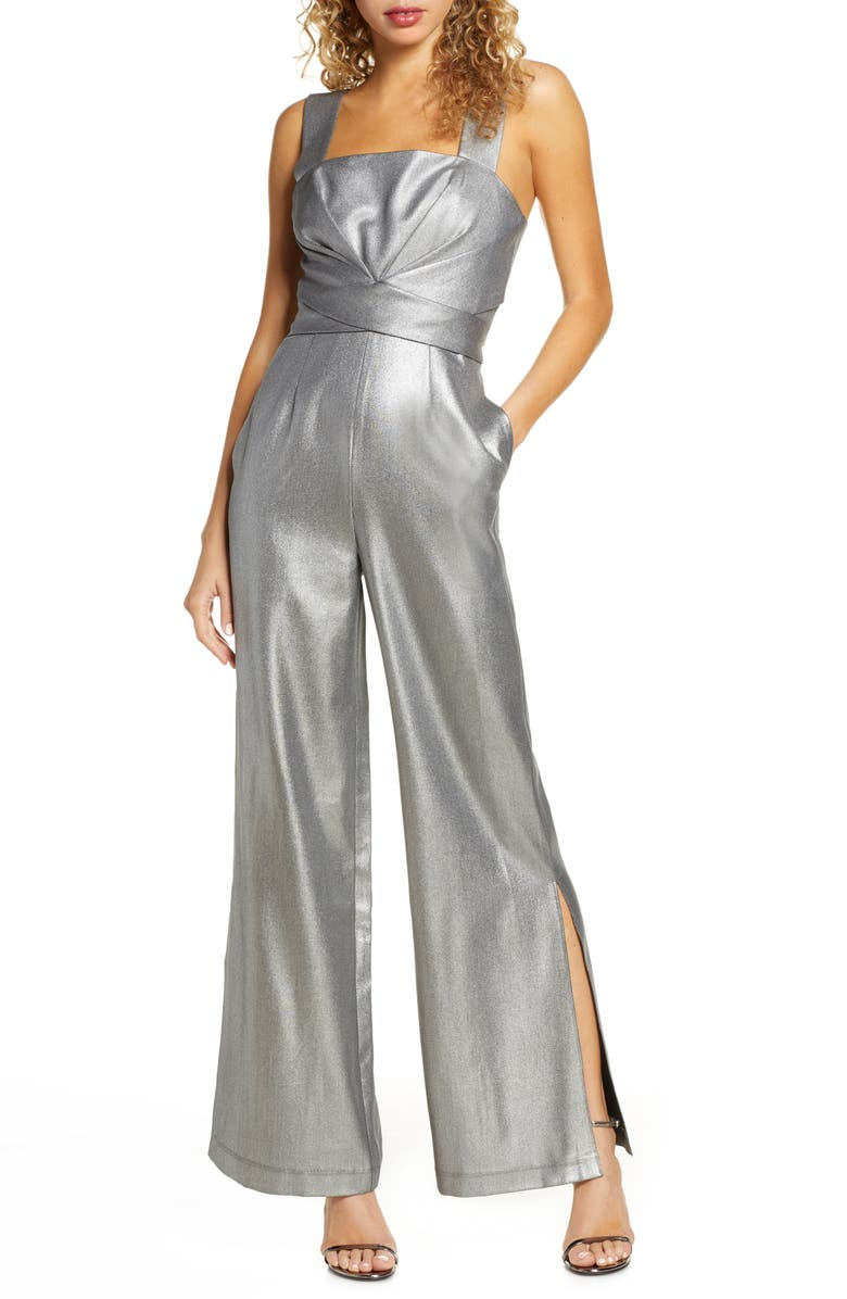 FOXIEDOX Sappho Metallic Jumpsuit, Main, color, GREY SILVER