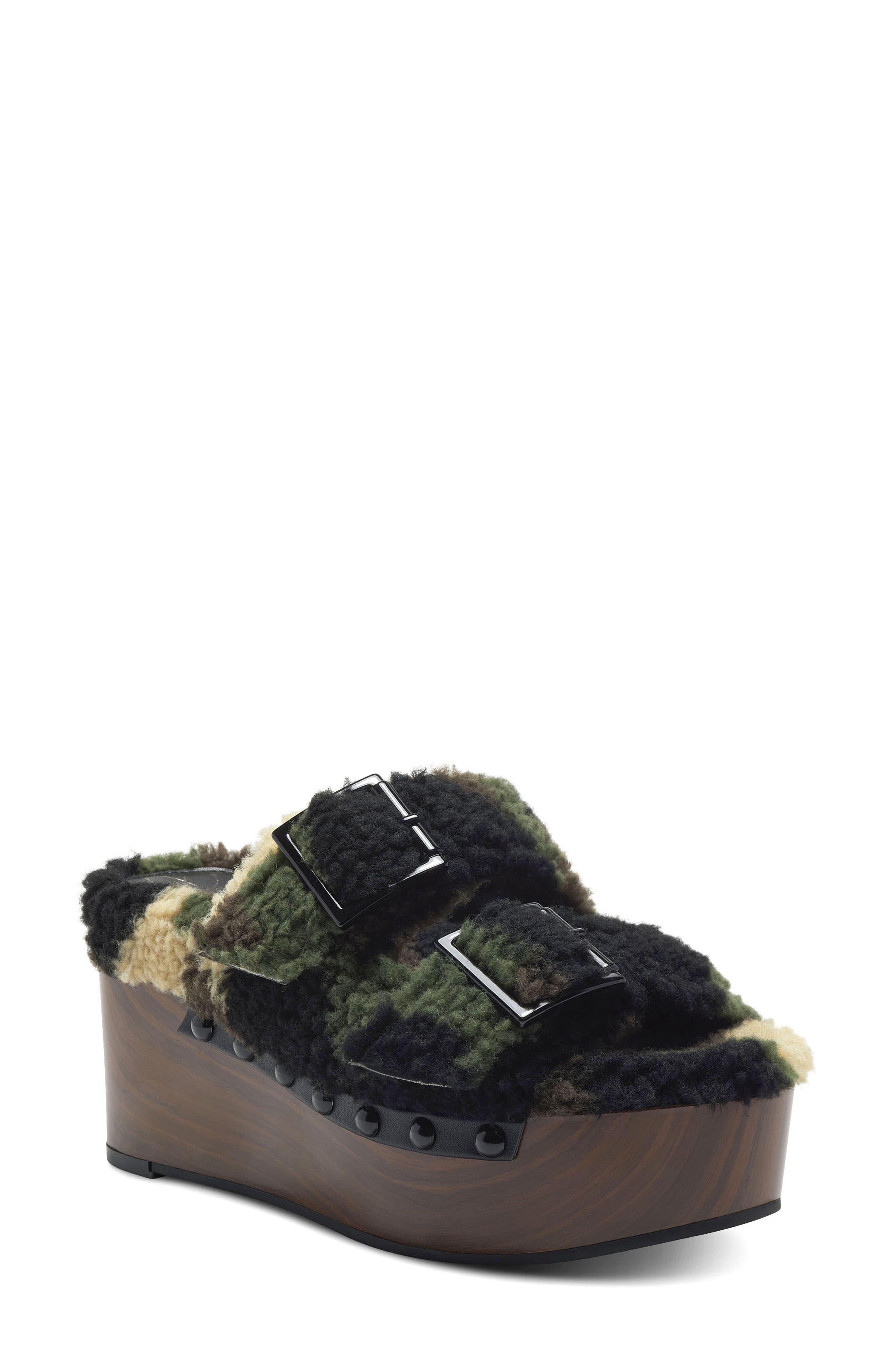 Cyriss Faux Shearling Platform Slide Sandal