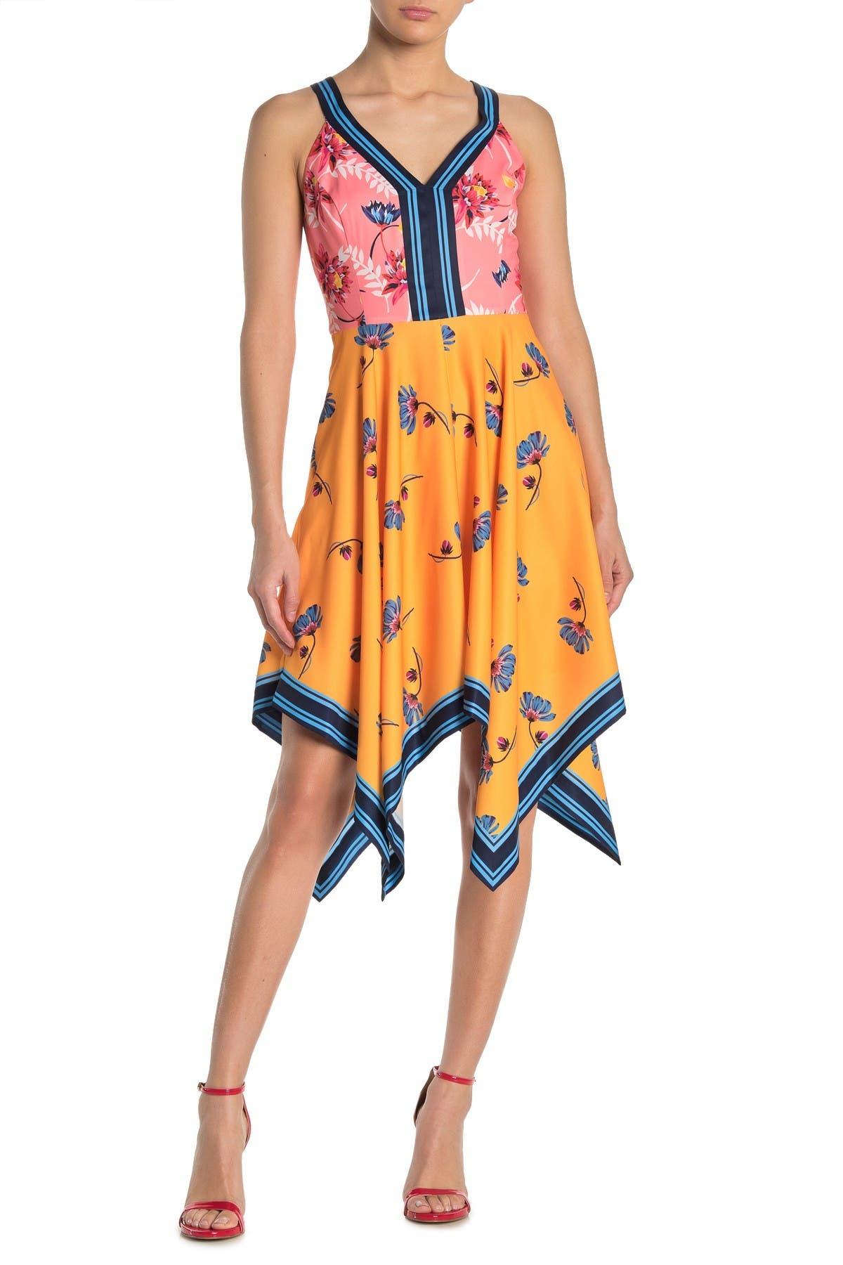 Image of GUESS Floral Colorblock Handkerchief Hem Dress
