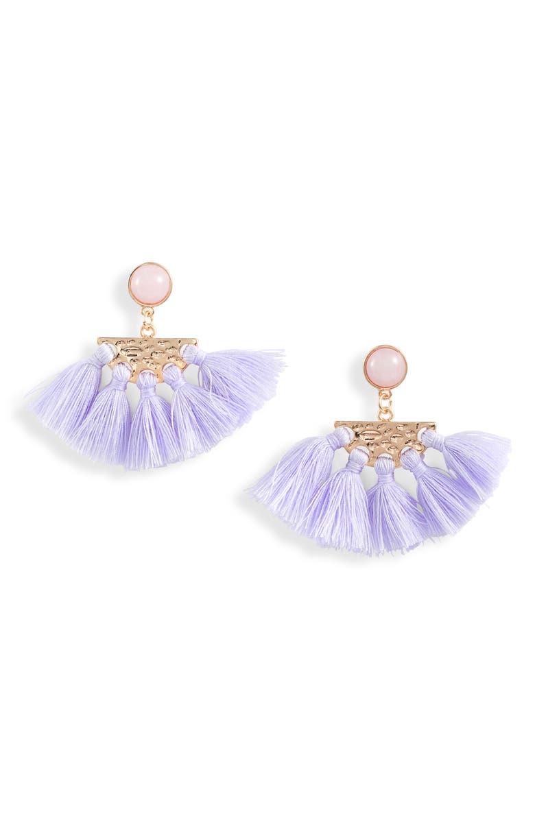 KNOTTY Tassel Fan Drop Earrings, Main, color, GOLD/ LIGHT PURPLE