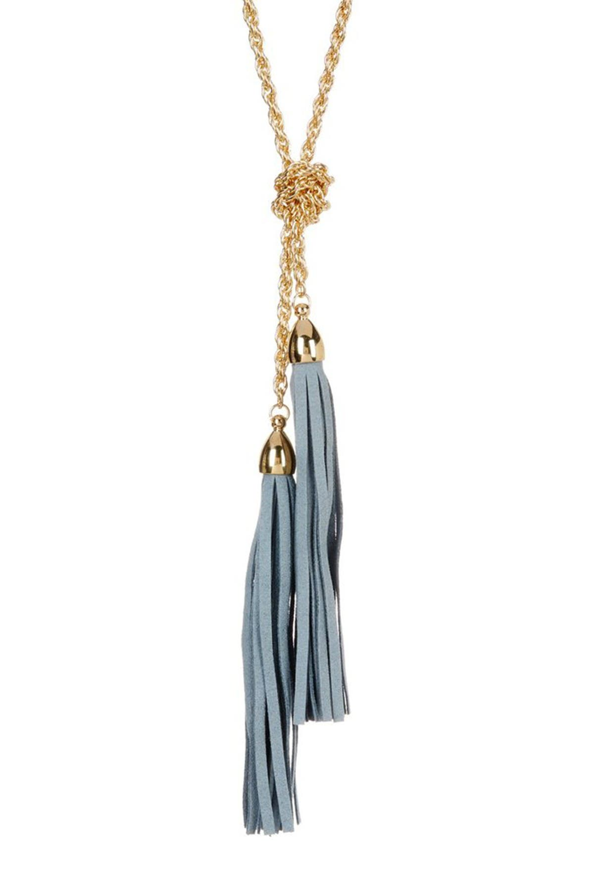 Image of Sterling Forever 14K Gold Plated Grey Suede Tassel Lariat Necklace