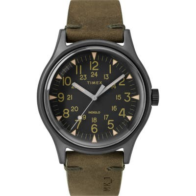 Timex Mk1 Leather Strap Watch, 40Mm