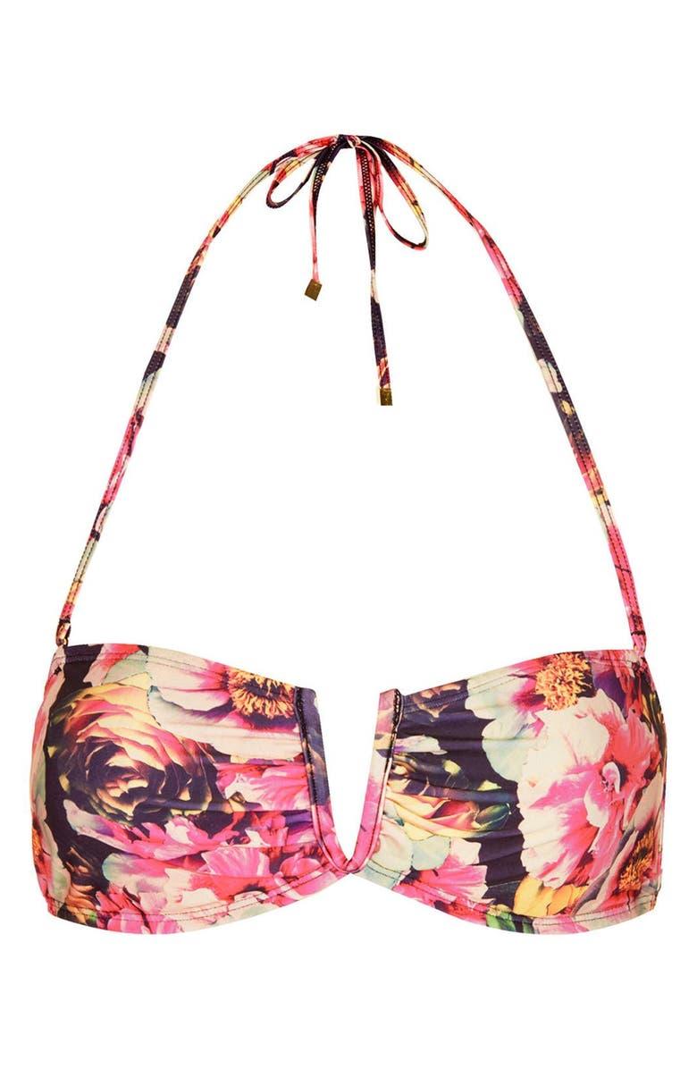 TOPSHOP 'Digital Peony' Print Bandeau Bikini Top, Main, color, 650