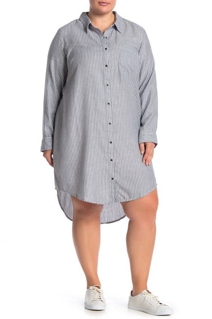 Image of SUSINA Striped Button Down High/Low Shirt Dress
