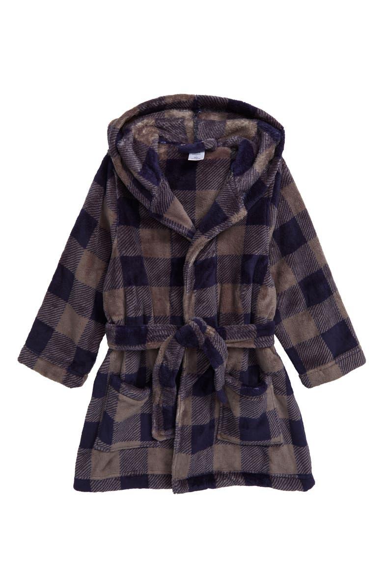 TUCKER + TATE Hooded Plush Robe, Main, color, GREY CASTLEROCK- NAVY BUFFALO