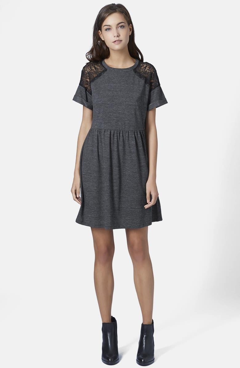 TOPSHOP Lace Inset Dress, Main, color, 020