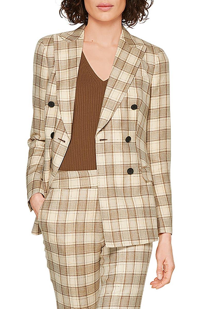 SUISTUDIO Cameron Double Breasted Plaid Jacket, Main, color, 250