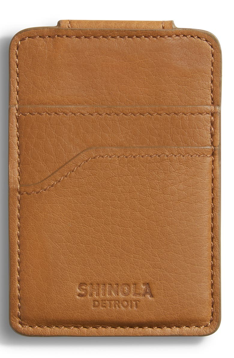 SHINOLA Money Clip Card Case, Main, color, COGNAC