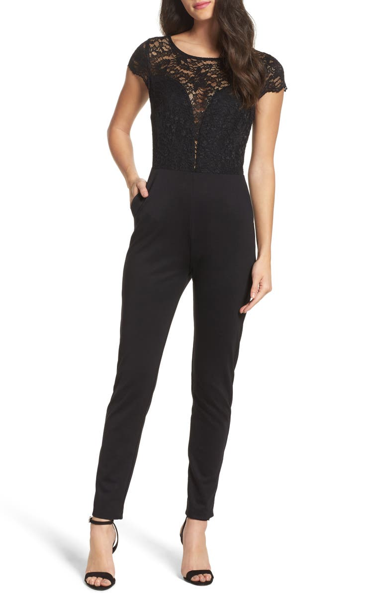 FRAICHE BY J Crepe & Lace Jumpsuit, Main, color, 002