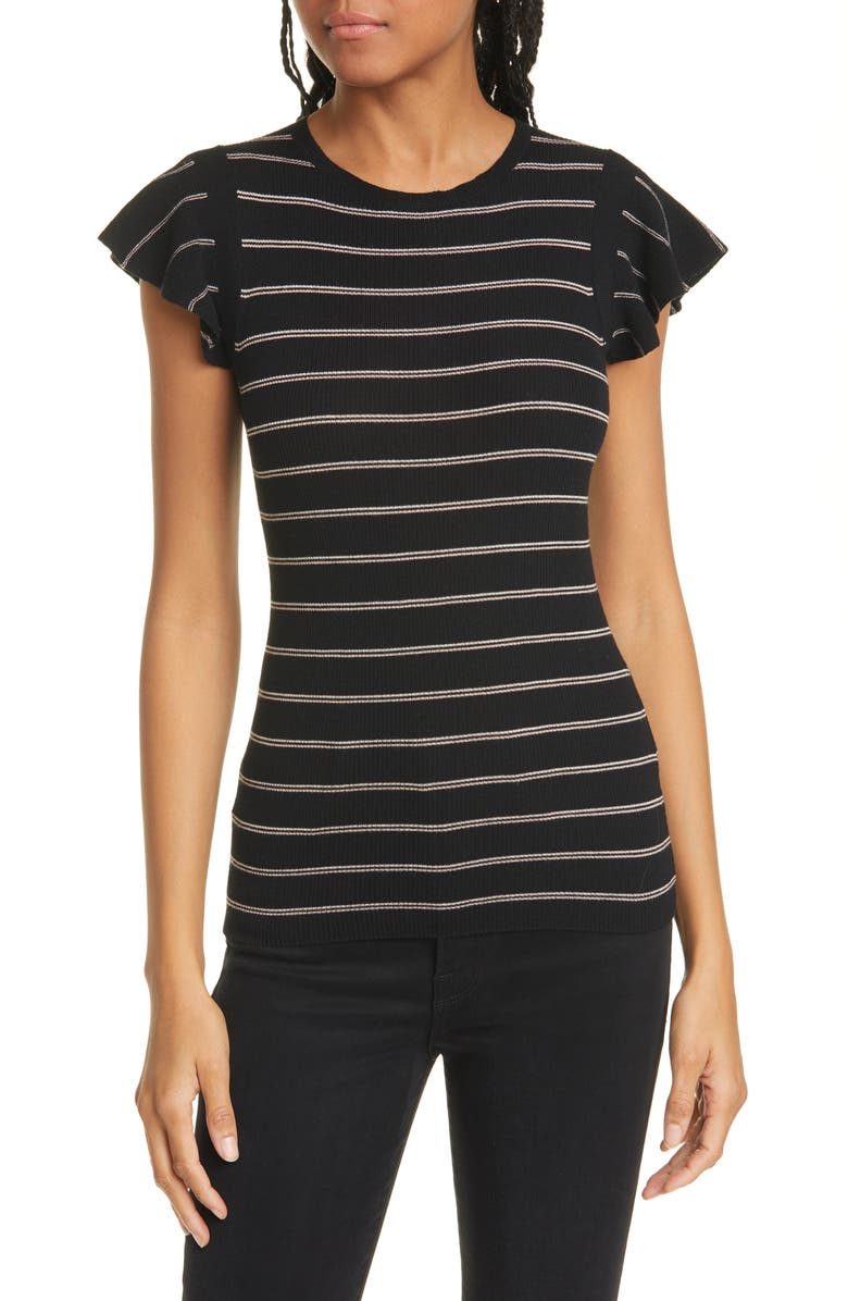 FRAME Stripe Ribbed Merino Wool Sweater, Main, color, NOIR MULTI
