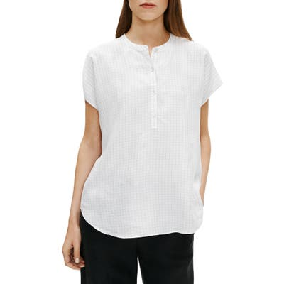 Eileen Fisher Check Washed Silk Top, White
