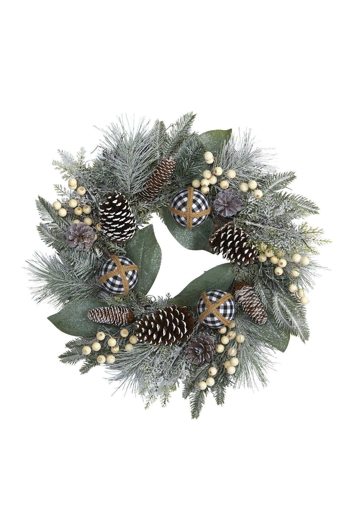 "Image of NEARLY NATURAL 24"" Snow Tipped Holiday Artificial Wreath"