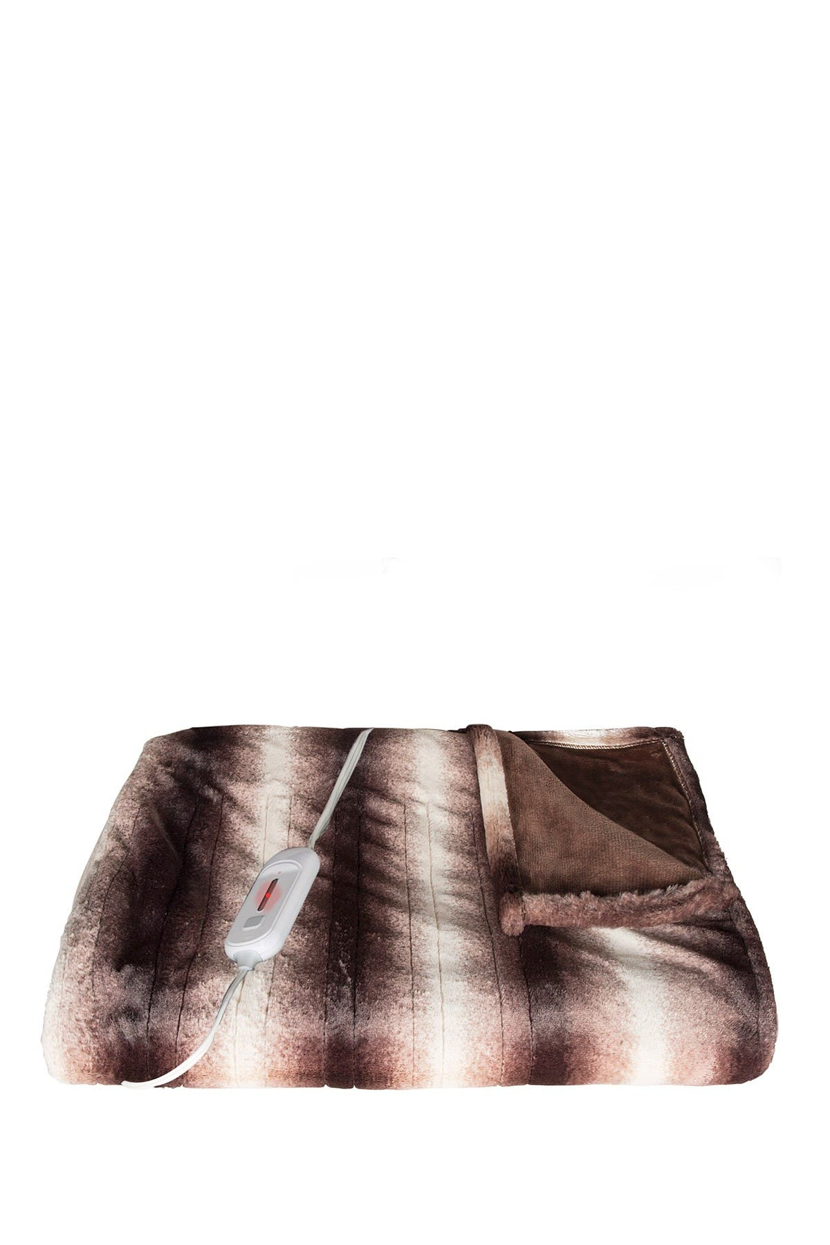 "Image of LUXE Brown/White Faux Fur Heated Throw Blanket - 50"" x 60"""