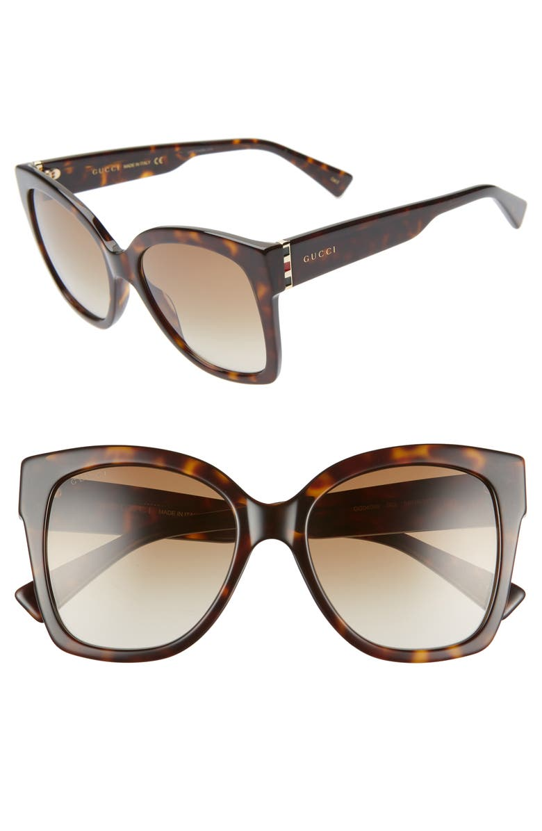 GUCCI 54mm Square Sunglasses, Main, color, SHINY DK HAV/ BRN GRAD