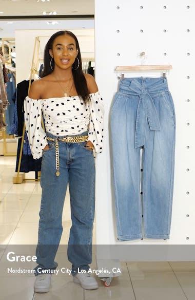 Drapey Tie Waist Nonstretch Cotton Jeans, sales video thumbnail