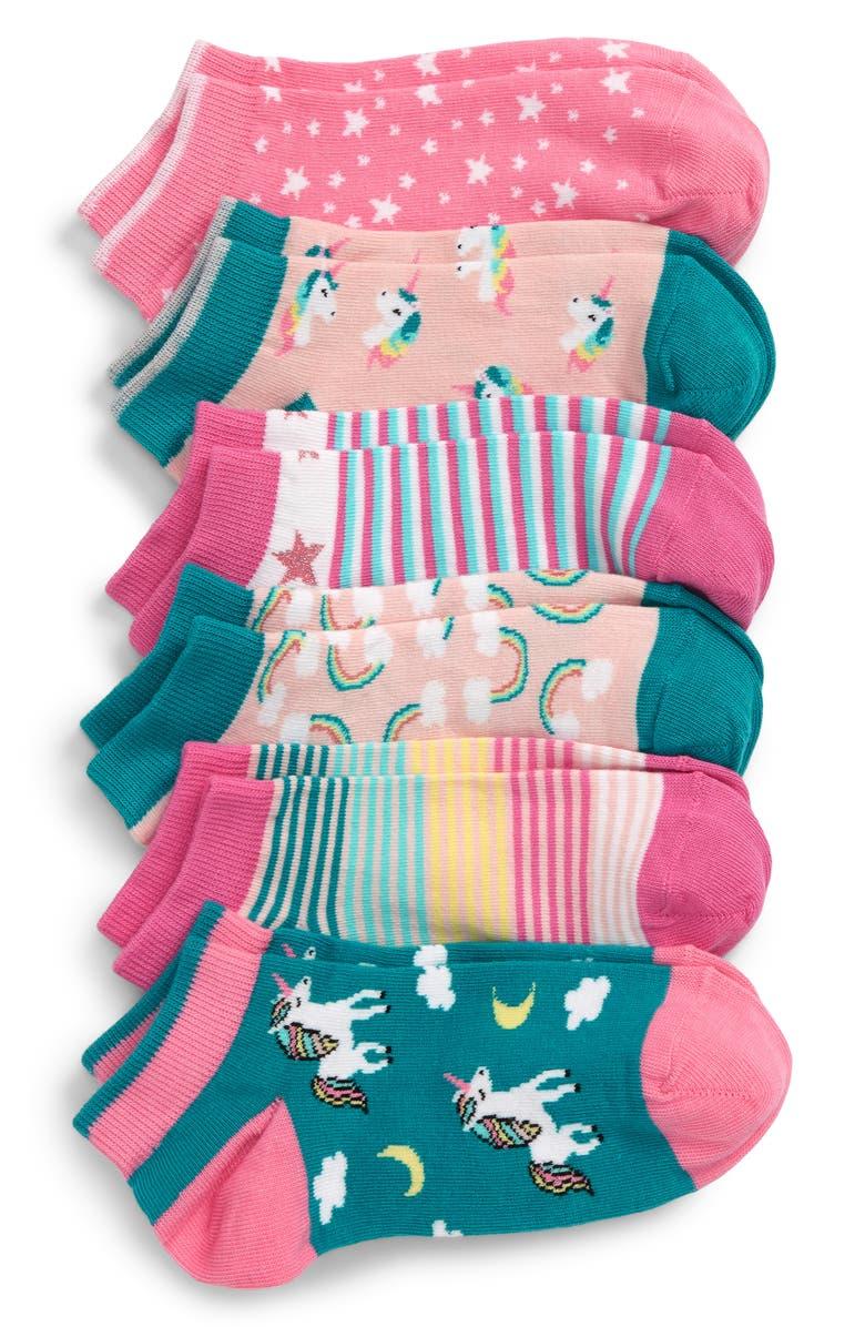 TUCKER + TATE 6-Pack Unicorns & Rainbows Low-Cut Socks, Main, color, TEAL RAINBOW MULTI