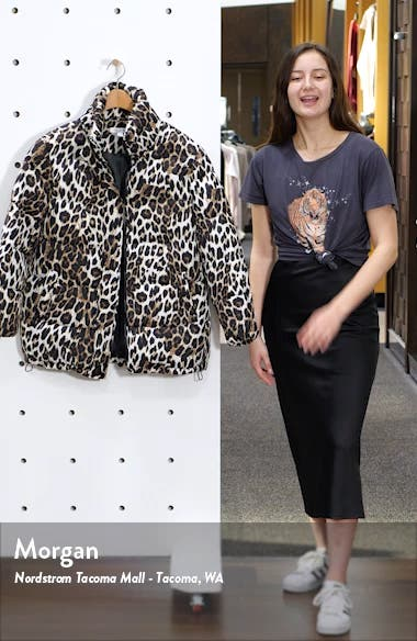 Stand Collar Water Resistant Leopard Print Puffer Coat, sales video thumbnail