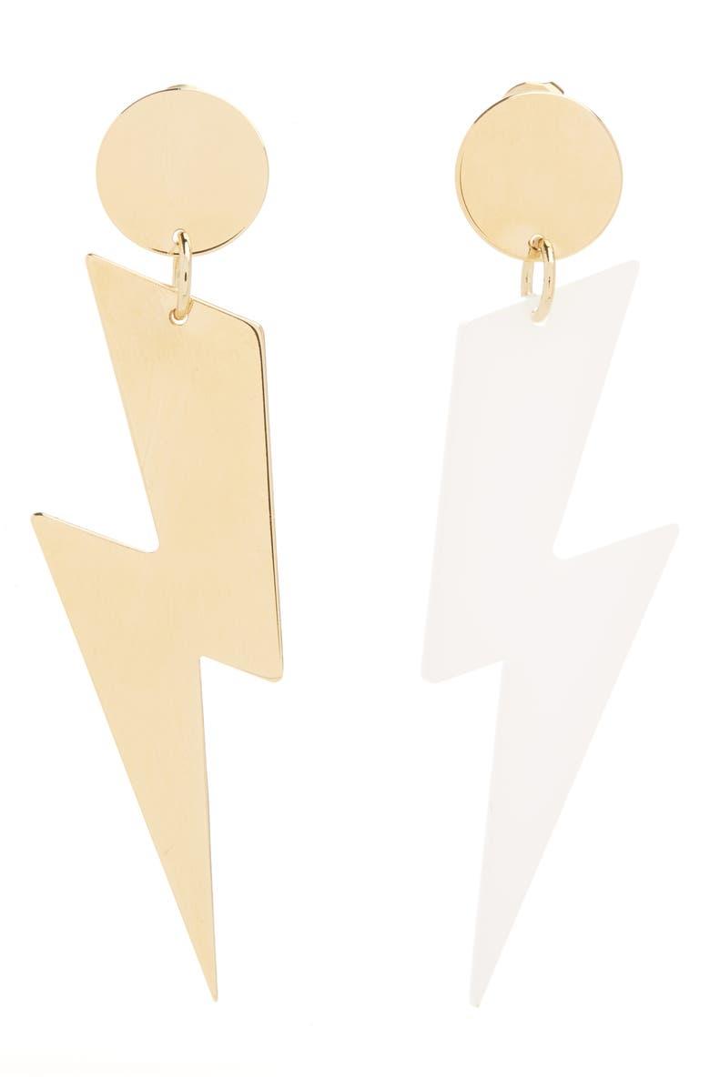 ISABEL MARANT Ziggy Mismatch Drop Earrings, Main, color, WHITE