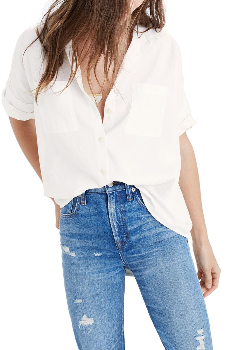 MADEWELL Cotton Courier Shirt, Main, color, 100